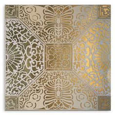 ACHICA | O'Hare & D'Jafer - Butterfly Fretwork, Leather on Gilded Ground, 50 x 50cm