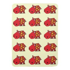 Funny Spotted Red Hippo Baby Blanket #hippos #baby #blankets #funny #animals And www.zazzle.com/naturesmiles*