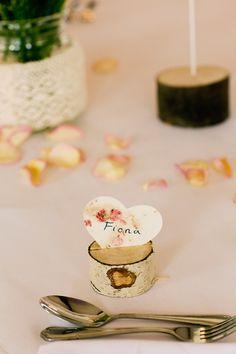Log Heart Place Setting Names Bright Happy Rustic Summer Country Wedding http://www.jobradbury.co.uk/