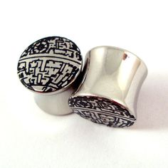 """Deathstar Stainless Steel Plugs - 2g 0g 00g 7/16"""" (11mm) 1/2"""" (13mm) 9/16"""" (14mm) 5/8"""" (16 mm) 3/4"""" (19mm) 7/8"""" (22mm) 1"""" (25mm) Ear Gauges on Etsy, $18.00"""