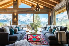 The stunning Chalet Mowgli sleeps eight adults and two children in five bedrooms. Not only is the chalet in one of Verbier's most-coveted locations, allowing you to ski directly to the chalet door (snow permitting), the elevated position offers incredible views of Mont Rogneux and Petit Combin.  Entering the chalet on the first floor you are immediately drawn to the view, which is framed by the double height windows at the front of the property. The doors lead out to the huge balcony with… Val D'isère, Luxury Cabin, Ski Chalet, Reception Rooms, Elle Decor, Home Remodeling, Skiing, New Homes, Living Room