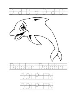 Tracing word Dolphin worksheet. Dolphin coloring page for preschool.