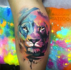 Watercolor lion by Pablo Ortiz