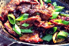 Flank Steak Mongolisch in Pfanne