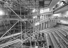 A view of a scaffolding-filled stage in the theatre, November 1979