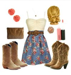 cowgirl chic love this! Country Girls Outfits, Country Girl Style, Country Dresses, Country Fashion, Girl Outfits, Fashion Outfits, My Style, Country Chic, Country Life
