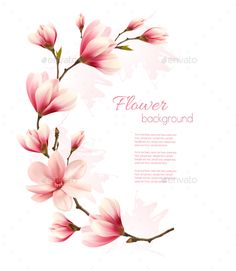 Buy Pink Magnolia Branch Vector by almoond on GraphicRiver. Beautiful Pink Magnolia Branch Vector Fully editable, vector objects separated and grouped, gradient mesh used. Flor Magnolia, Magnolia Branch, Magnolia Flower, Flower Backgrounds, Flower Wallpaper, Pretty Tattoos, Beautiful Tattoos, Branch Vector, Nature Vector