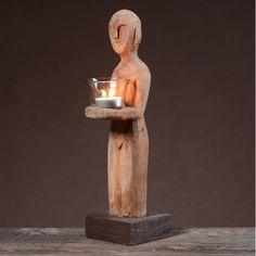 Świecznik (Light Brown, mangowiec/szkło) - Świeczniki - AD Loving Home