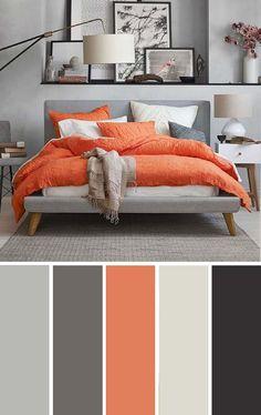 Orange and Gray Bedroom Gray orange Bedroom Color Scheme Bedroom Color Scheme Grey Orange Bedroom, Orange Bedrooms, Colors For Bedrooms, Blue Bedroom, Living Room Color Schemes, Apartment Color Schemes, Color Schemes With Gray, Home Color Schemes, Interior Design Color Schemes