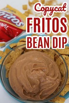 This Copycat Fritos Bean Dip Recipe tastes just like the standard favorite bought in a can in the chip aisle -but even better! It's perfect for parties and game day.  #beandip #dips #refriedbeans #chipdip #partydip #appetizer #partyrecipe Frito Bean Dip Recipe, Fritos Bean Dip, Refried Bean Dip, Bean Dip Recipes, Party Dip Recipes, Refried Beans, Party Snacks, Appetizer Recipes, Appetizers