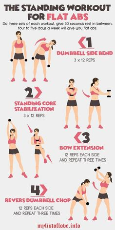 Lean Standing workouts for flat abs. – body building – fitness routines – fitness and diet – diet and weight loss Standing workouts for flat abs. – body building – fitness routines – fitness and diet – diet and weight loss Fitness Workouts, Fitness Motivation, Fitness Workout For Women, Fitness Diet, Health Fitness, Workout Exercises, Dumbbell Workout, Arm Workout Women With Weights, Back Workout Women