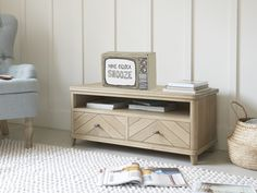 If your TV stand is a blot on the landscape why not switch over to this retro solid oak parquet creation? Scandi Living Room, Living Room Decor, Living Spaces, Tv Stand Living Room, Living Rooms, Pleated Curtains, Curtains With Blinds, Tv Media Stands, Wooden Tv Stands
