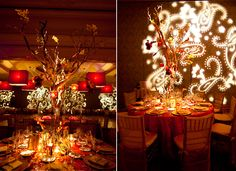 Henna inspired reception with lanterns that hang from the table centerpieces and opulent colors of gold and red tones.