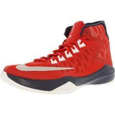 buy popular a2349 53d73 Nike Men s Zoom Devosion University Red Metallic Platinum-Midnight Navy  High-Top Basketball Shoe - 8.5M