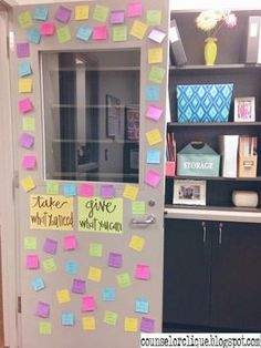 High School Counselor door decoration, can be used for staff too! Counseling Office Decor, School Counselor Office, Middle School Counseling, Elementary Counseling, Counseling Activities, School Office, School Classroom, Elementary Schools, Primary Education