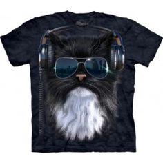 The Mountain Cool Cat T-Shirt Feline Royal Blue - Cat Tshirt Cool Tee Shirts, Cat Shirts, Cool Cats, Cat Sunglasses, Big Face, Graphic Tees, Cool Stuff, Headphones, Kids
