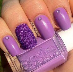Caviar Mani: Essie - Play Date with purple micro beads and rhinestones #Essie