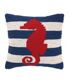Look at this Seahorse Hooked Throw Pillow on #zulily today!