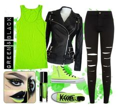 """Green & Black Outfit"" by heather-7-02 ❤ liked on Polyvore featuring New Look and Converse"