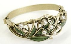 Sweet Romance Jewelry Enameled Lily Of The Valley Bangle Bracelet By