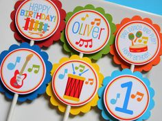 Music Birthday Party Personalized Cupcake Toppers, Music Party Decorations, Music Party Supplies, Music Custom Cupcake Toppers, Set of 12 Music Party Decorations, Music Decor, Birthday Party Decorations, Party Themes, Ideas Party, Decoration Party, Music Theme Birthday, Music Themed Parties, Happy Birthday Banners