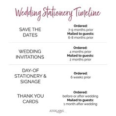 ✖ S T A T I O N E R Y T I M E L I N E ✖ I get a lot of messages asking me when the best time is to send out save the dates and wedding…