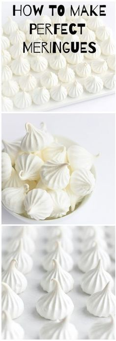 Oct 14 How to Make Perfect Meringues How to Make Perfect Meringues – a step-by-step tutorial for making meringues that will come out perfect every single time! Pavlova Meringue, Meringue Desserts, Cookie Desserts, Just Desserts, Meringue Food, Meringue Cake, Candy Recipes, Cupcake Recipes, Sweet Recipes