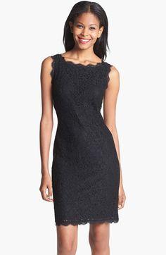 Adrianna Papell Boatneck Lace Sheath Dress