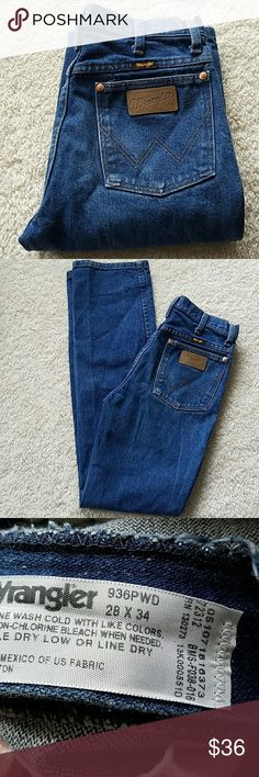 WRANGLER VINTAGE JEANS WRANGLER JEANS VINTAGE SIZE TAGGED: W28 L34 MEASURED: W28 L33 1/4 RISE:10 1/2  HIPS:34 ♡♡♡♡♡♡♡♡♡♡♡♡ Wrangler Jeans Straight Leg