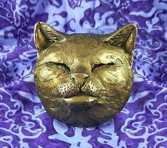 Bronze-or-Black-Cat-Pet-Head-Face-Wall-Plaque-Ornament-Gold-Silver-Available