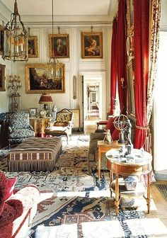 A salon at L'Ermitage de Pompadour, a former home of Charles, Vicomte de Noailles, and his wife, Marie-Laure, in Fontainebleau, France. The 18th-century building—which was constructed for royal mistress Madame de Pompadour and is now owned by Noailles grandson Carlo Perrone