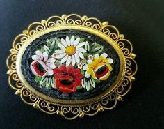 Vintage italian  brooch cut mosaic glass marked italy