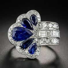 Platinum Art Deco Sapphire and Diamond Ring - Antique & Vintage Gemstone Rings - Vintage Jewelry Art Deco Jewelry, I Love Jewelry, Fine Jewelry, Jewelry Design, Cheap Jewelry, Glass Jewelry, Jewelry Crafts, Jewelry Bracelets, Jewelry Making