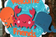 Under the Sea Creatures Door Sign Welcome by PaperPartyParade, $12.00