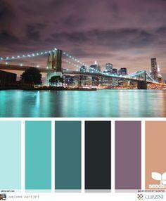 City and bridge at night, nice colors