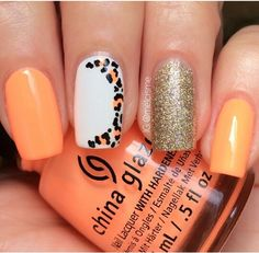 Neon Peach,Leopard Print,& Glittery Gold