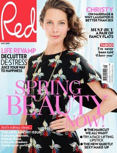 Christy Turlington in a Fendi Spring/Summer 2015 dress on the cover of Red Magazine.