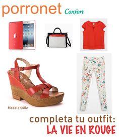 48326d12 Sandalias de piel con cuña plataforma de Porronet Confort en rojo, ideales  para un outfit