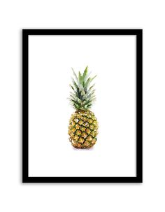 Download and print this free printable Pineapple Watercolor wall art for your home or office!