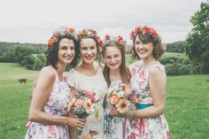 Maid to order floral bridesmaid dresses from Etsy shop Mokka Fve O'clock  - A Phase Eight wedding dress for a vintage inspired village hall wedding with handpicked wild flowers and floral bridesmaid dresses.