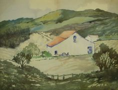 Vintage Original Watercolour Painting Devon House Countryside