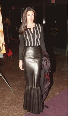 Black Leather fishtail skirt with pleat detailing