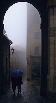 go outside during rain// big umbrella//