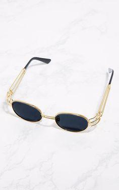 c96213821e6 Gold Black Lens Oval Metal Frame - PLT Sunglass Frames