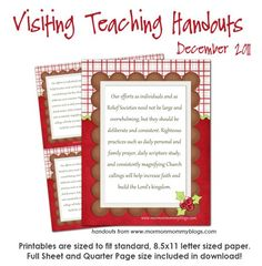 Visiting Teaching handouts for each month's message