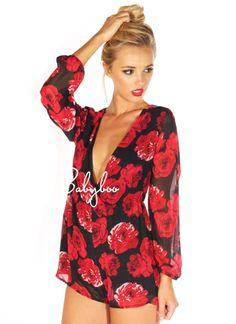 sexy sleepwear; red, black