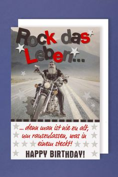 geburtstag mann biker auf motorrad lustig. Black Bedroom Furniture Sets. Home Design Ideas