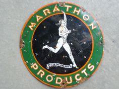 12in across. Marathon porcelain sign