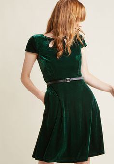 Tri-Keyhole A-Line Dress in Emerald - As you stand at the podium in this deep green dress, the crowd below falls to a hush. As you call attention to the charitable contributions offered by your team, you may not realize how beautifully you glow in the vintage-inspired velvet, keyhole-accented neckline, and black faux-leather belt of this pocketed A-line - a ModCloth namesake label look that brings added brilliance to the evening's event!