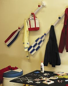 Cute Idea to hang coats in little boys room and I'm sure I could fined an old ore some wear.